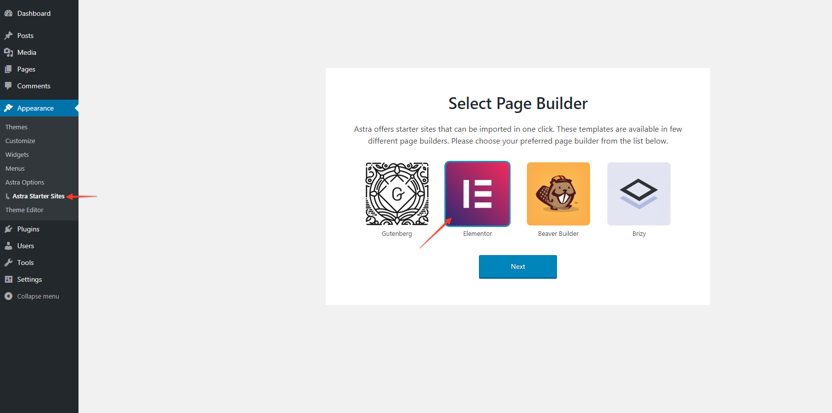 Select Elementor Page Builder
