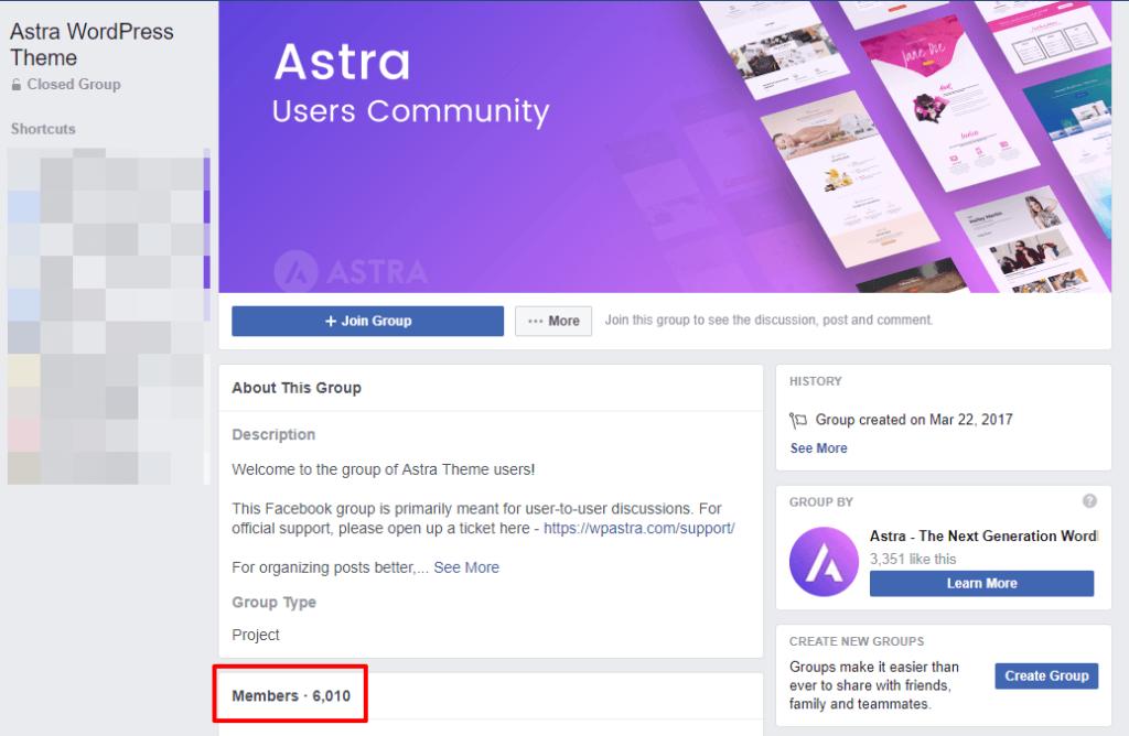 astra facebook community