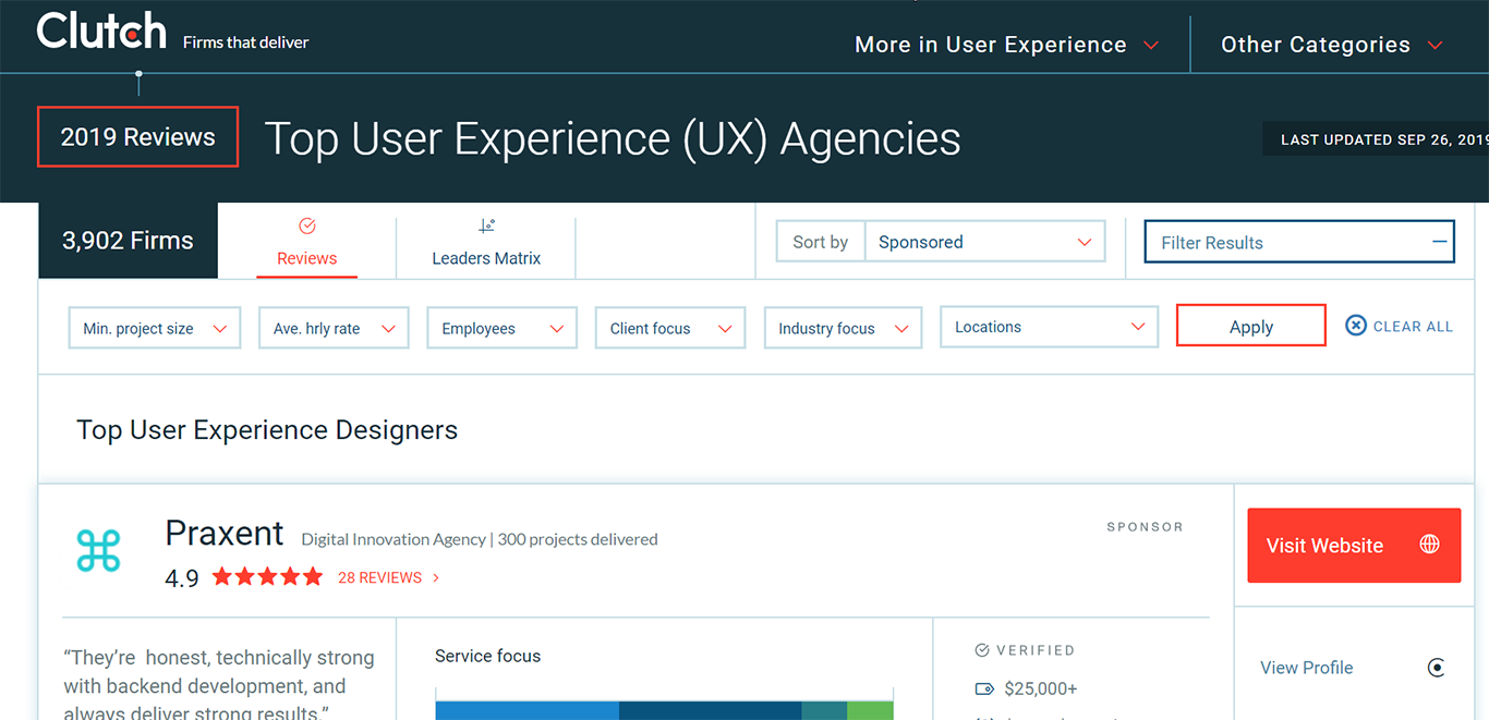 search results of UX agencies on Clutch website
