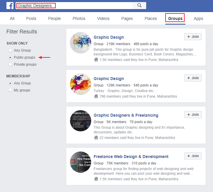 search of Graphic Designers groups on Facebook