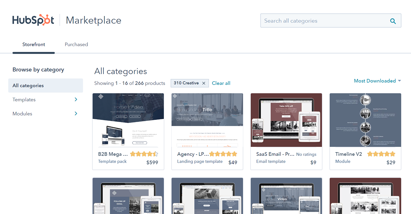 hubspot marketplace page
