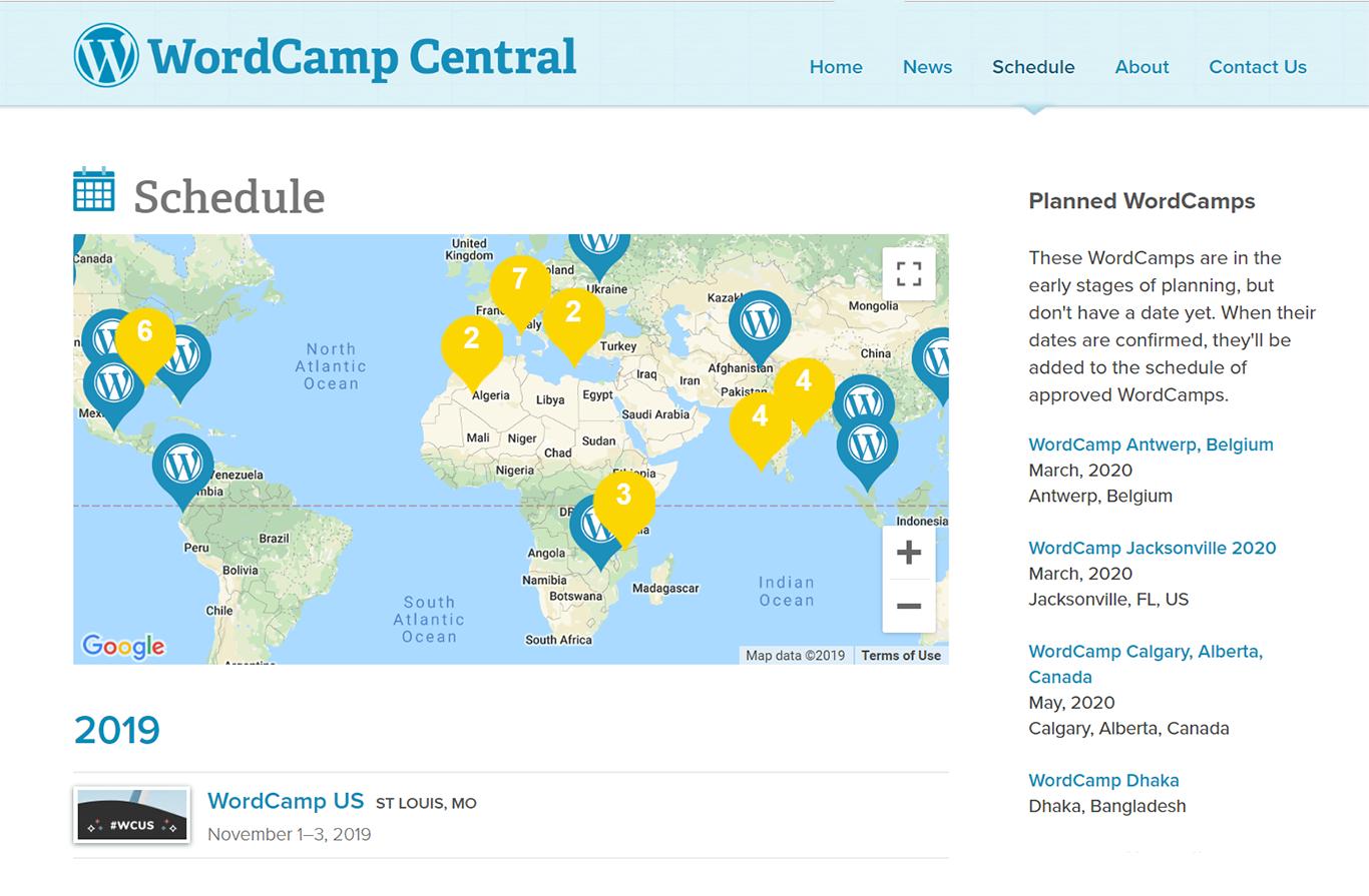WordCamps Schedule