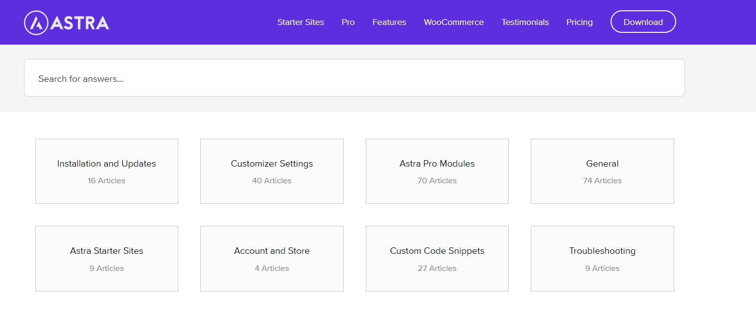 astra pro support page