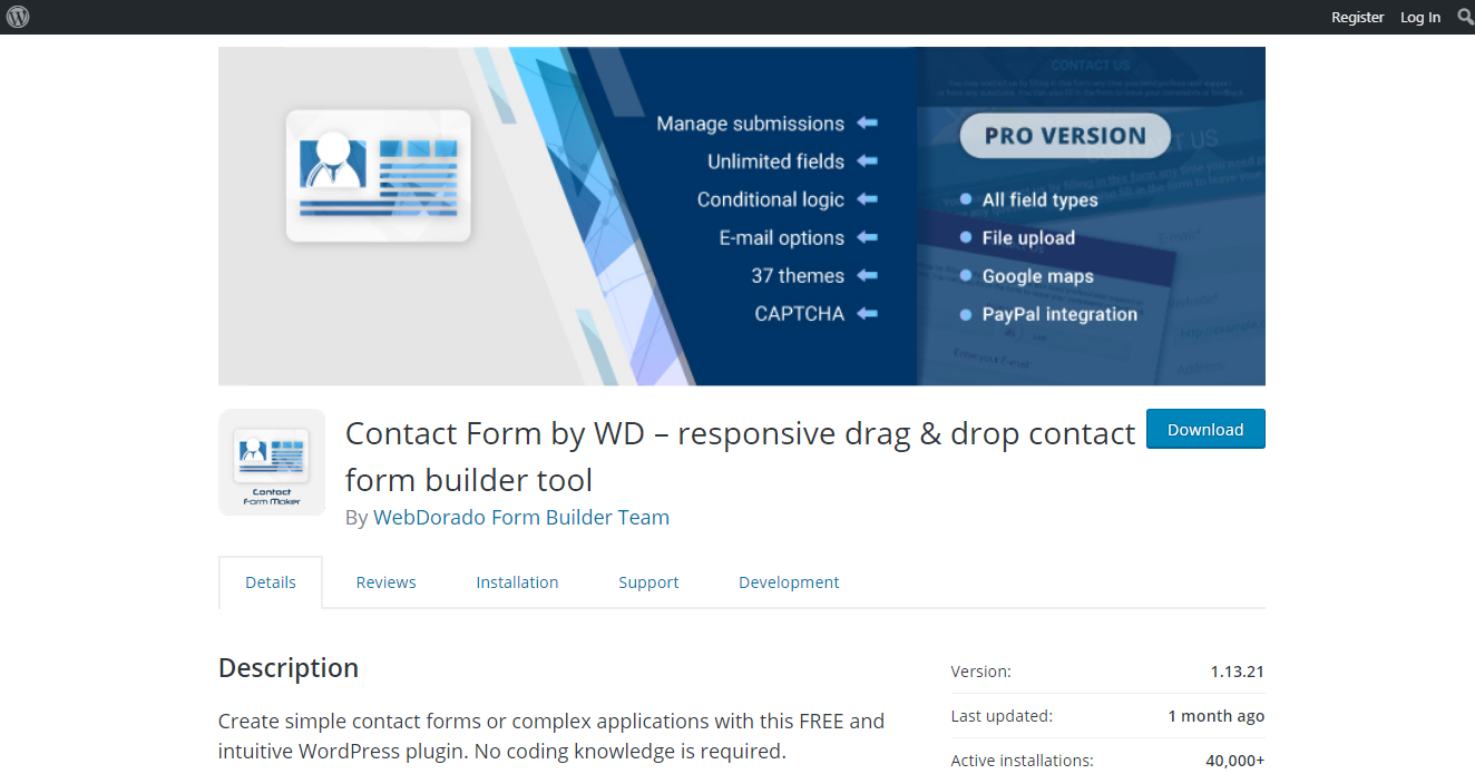 Best Contact Forms - Contact Form by WD