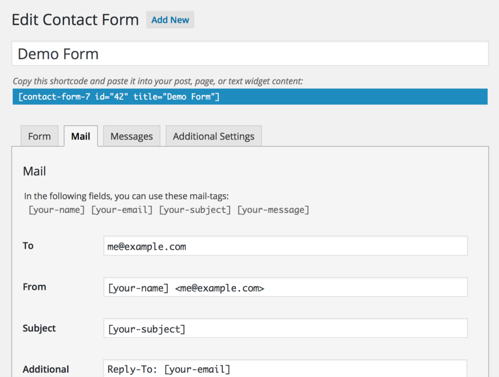 Contact form 7 Editor Screen