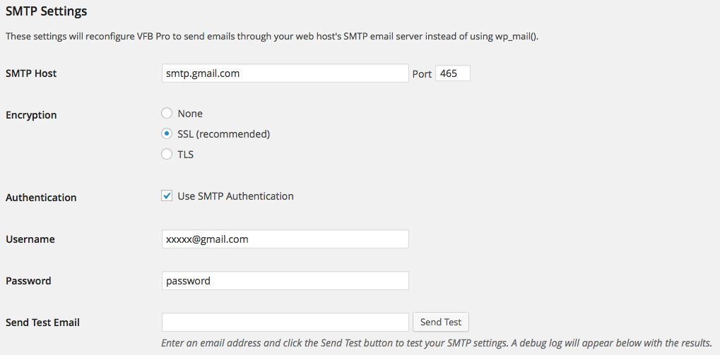 Visual Form Builder SMTP