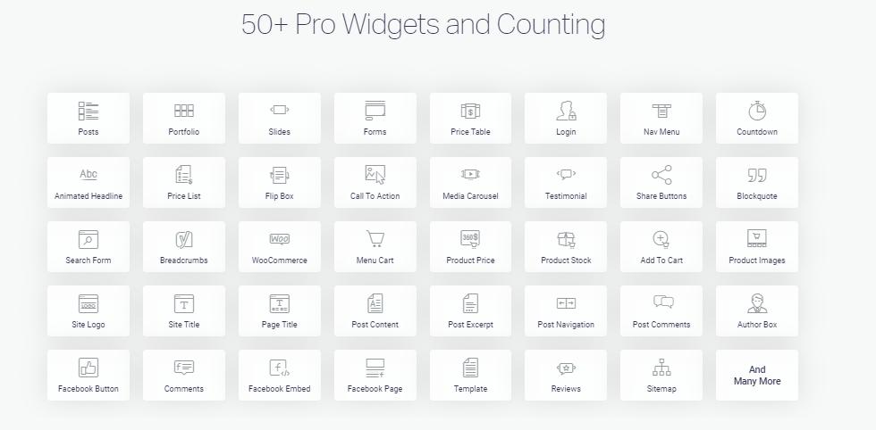 50 plus elementor widgets grid list