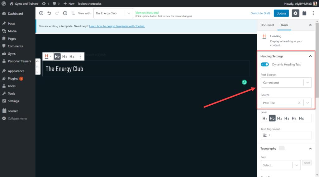 Add post title on toolset heading blocks