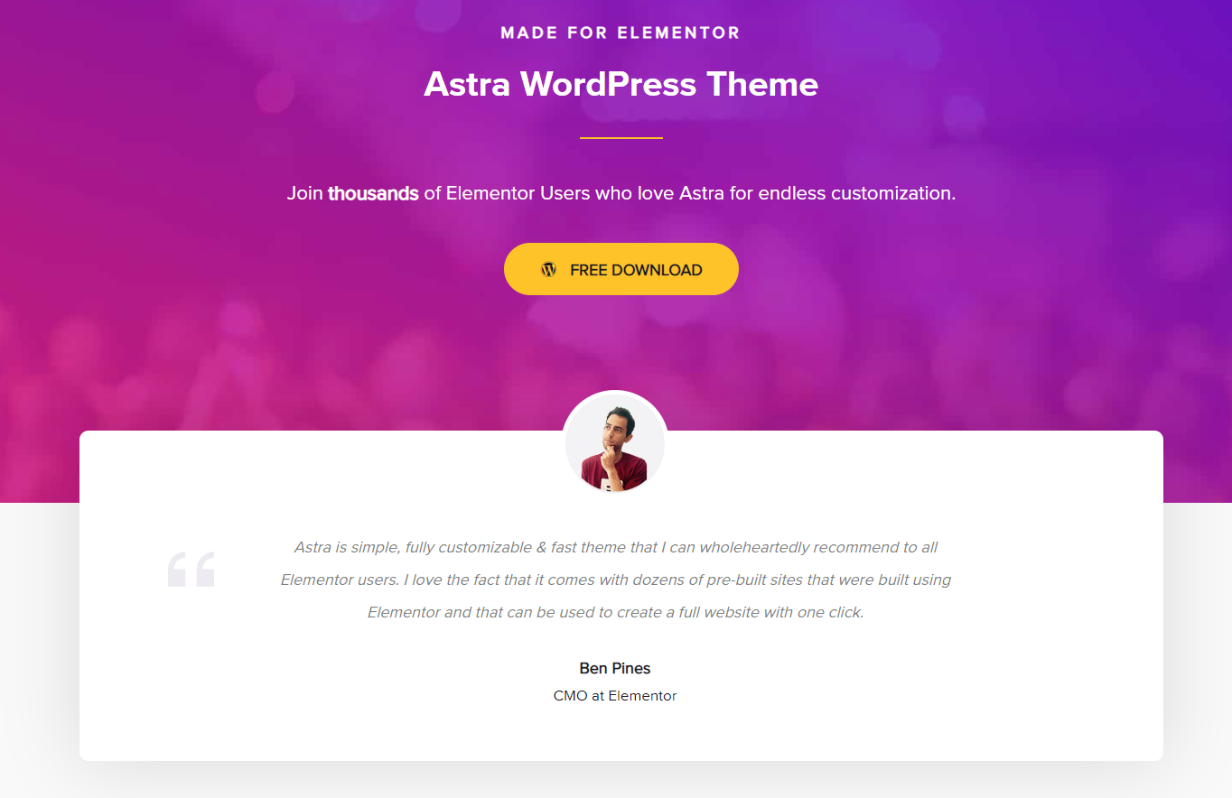 astra theme for elementor homepage