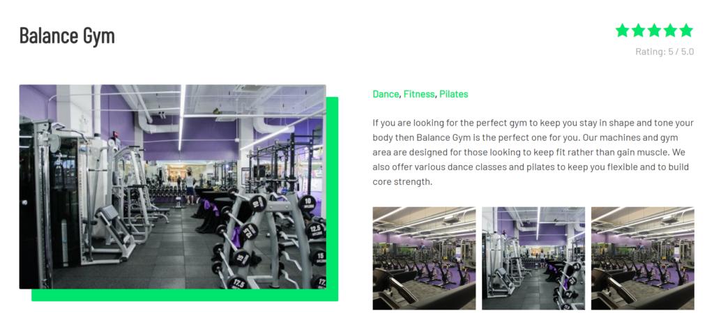 balance gym dynamic content