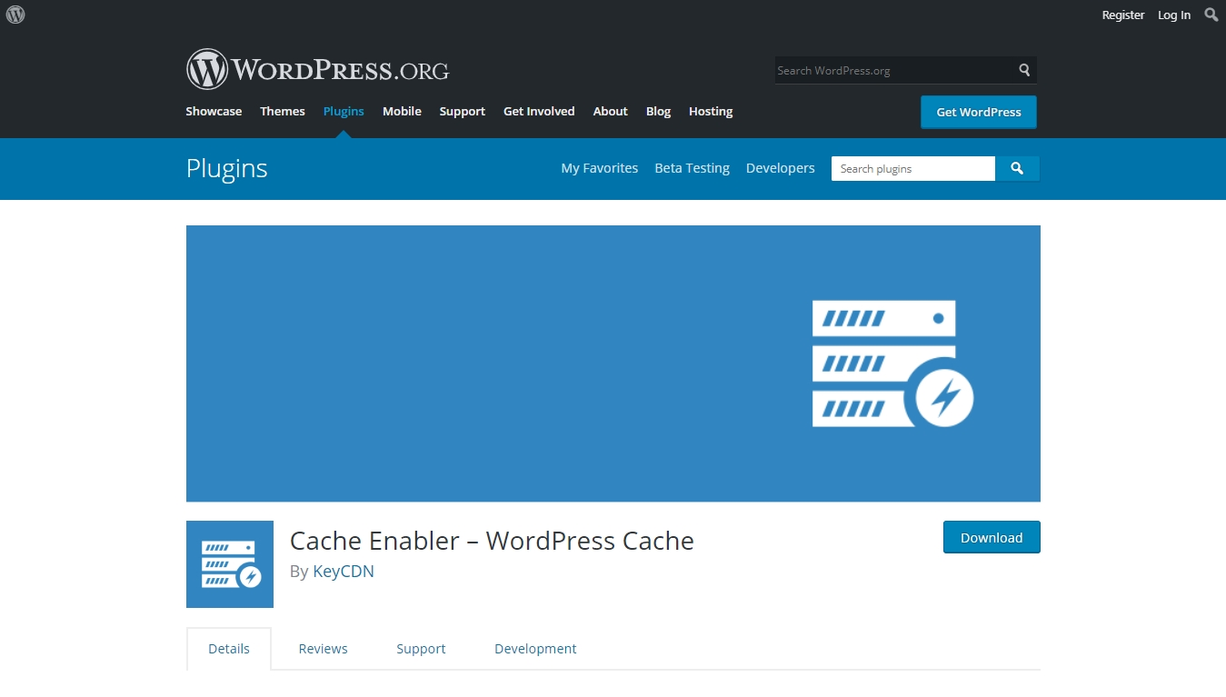 cache enabler download page from wordpress.org