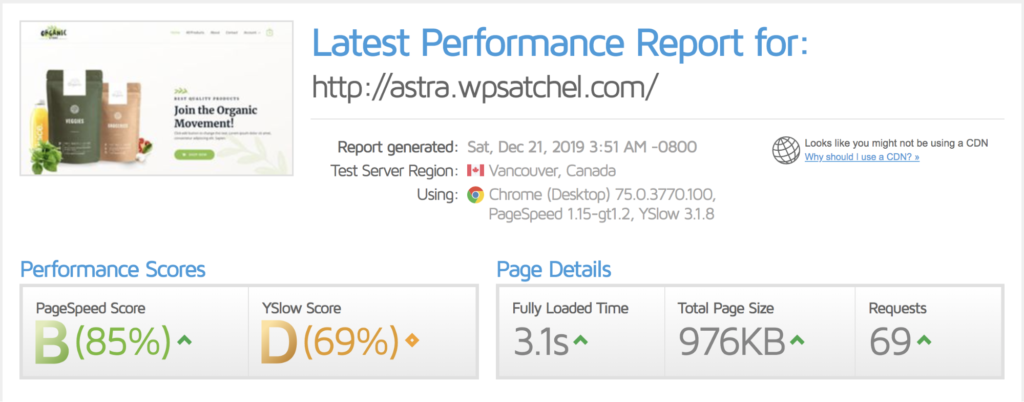 cachify caching plugin speedtest results