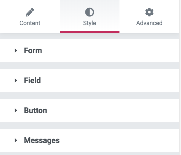 editing the contact form style tab