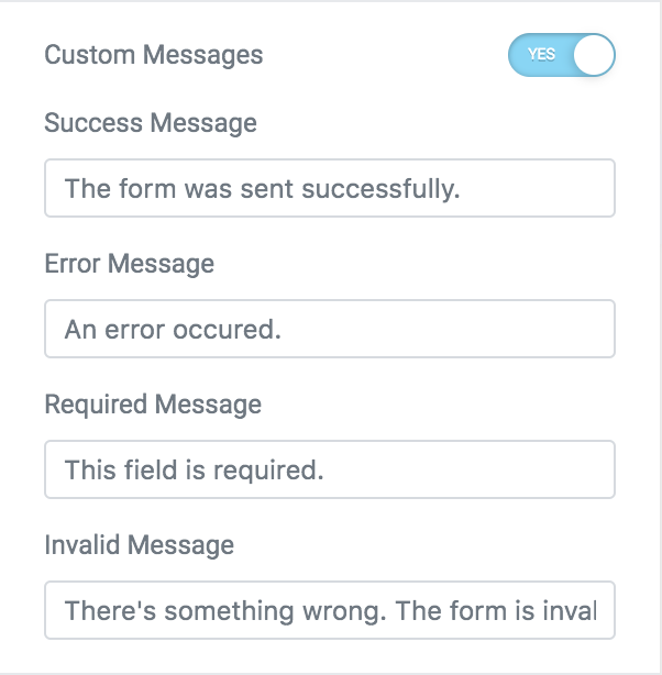 adding custom messages to the elementor contact form widget