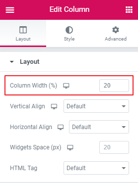 Elementor Edit Column Settings