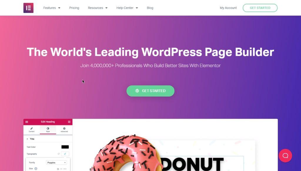 elementor page builder homepage