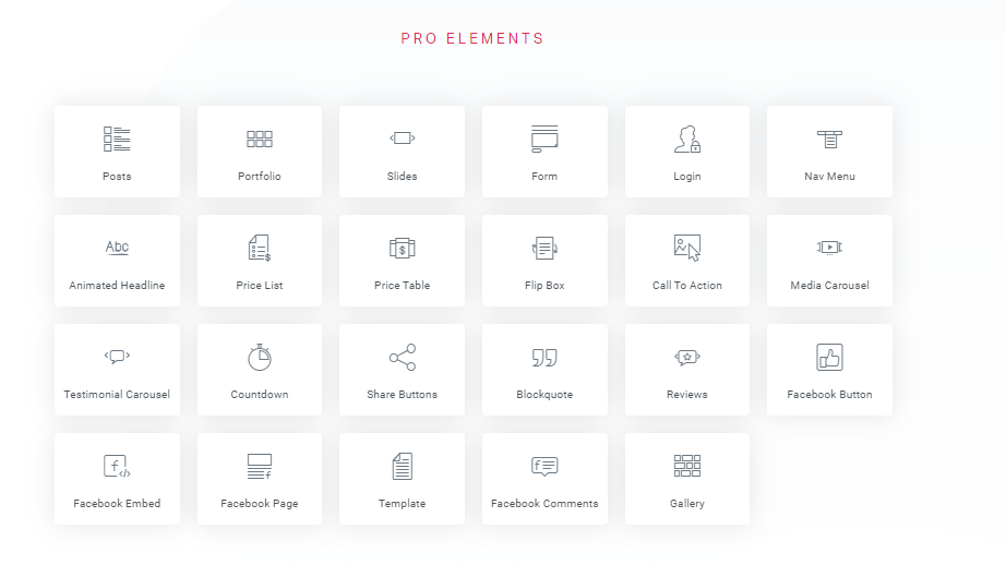 elementor pro elements list in grid