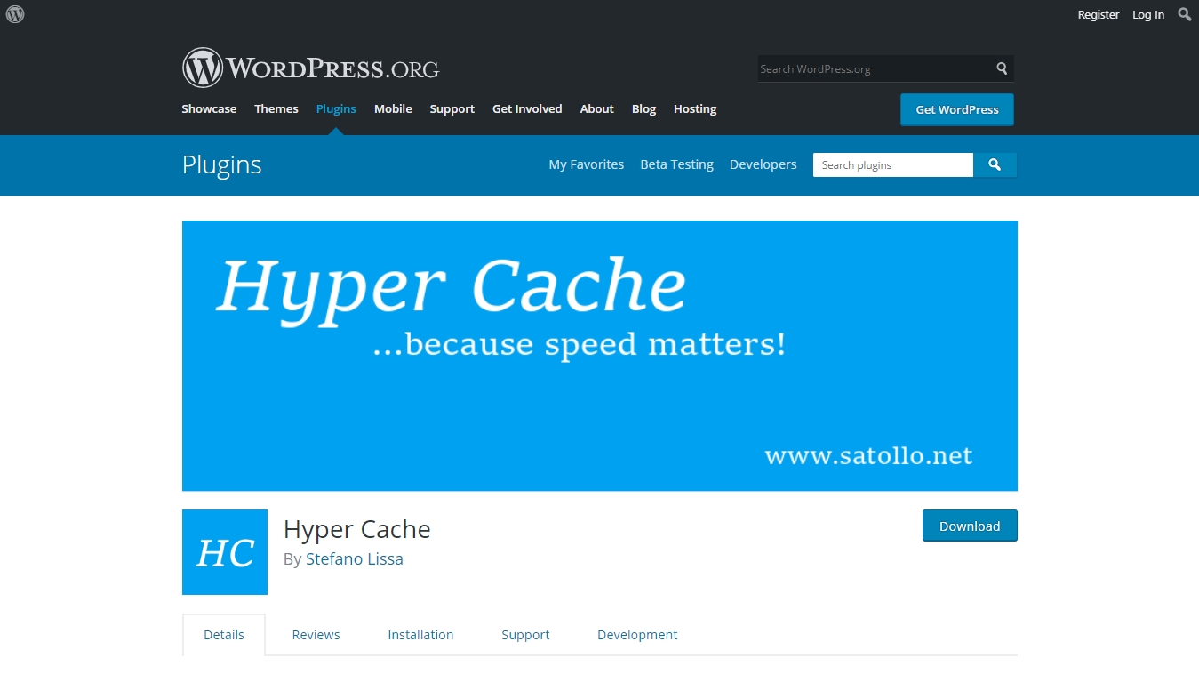 hypercache plugin download page from wordpress.org