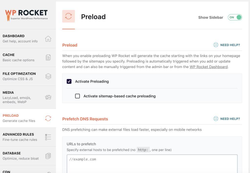 WP Rocket back end Preload menu