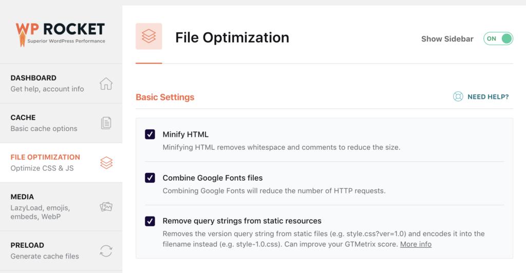 WP Rocket back end File Optimization menu
