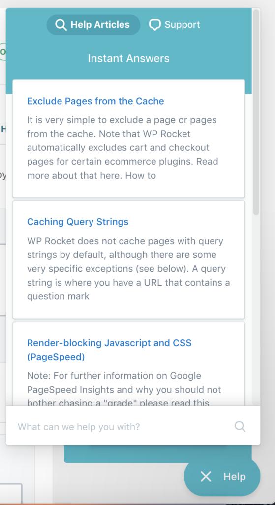 Screenshot of WP Rocket Help Articles