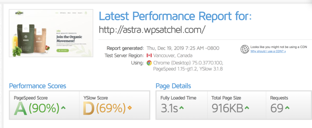 Astra speedtest result without WP rocket