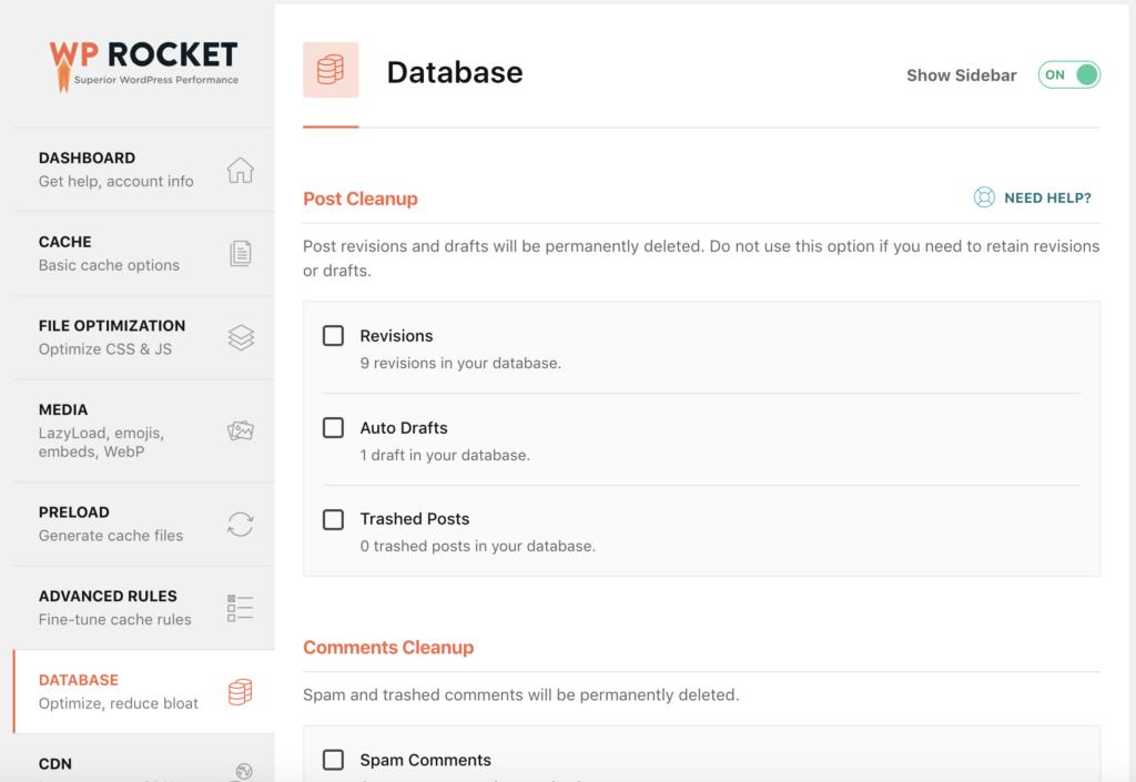 WP Rocket back end database  menu