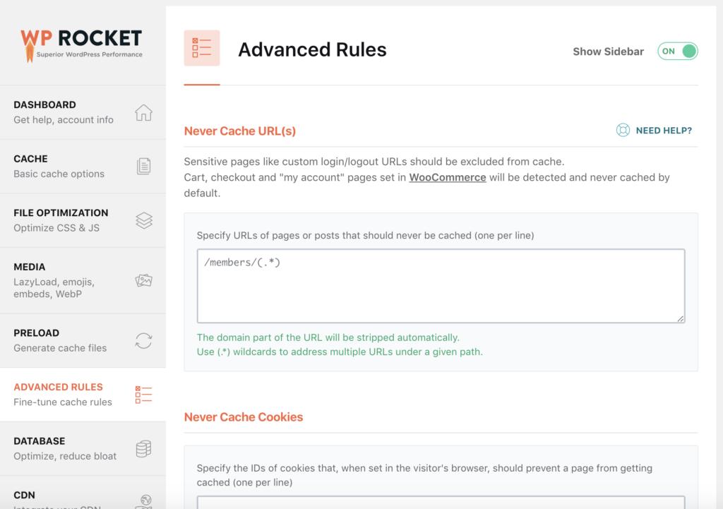 WP Rocket back end Advanced Rules  menu