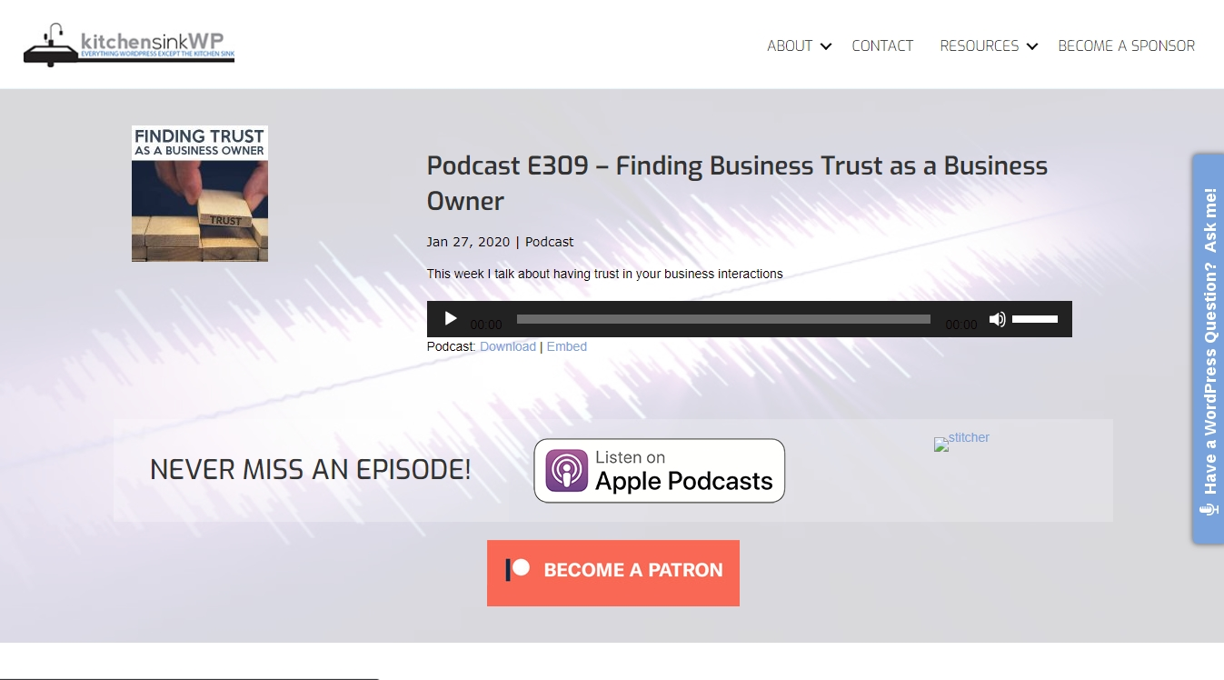 kitchen sink wp podcast with listen on itunes button