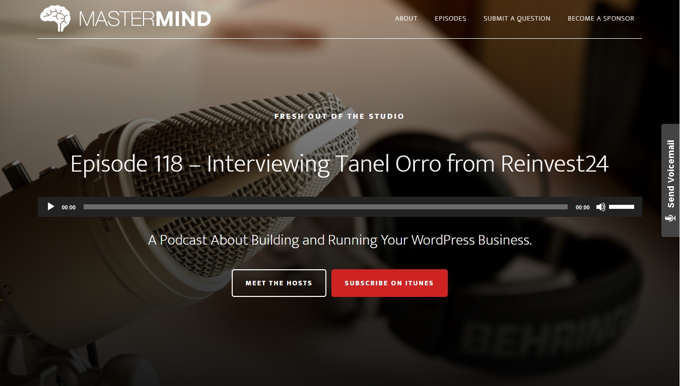 mastermind podcast homepage with latest episode