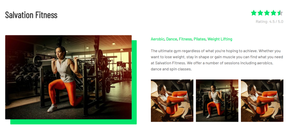 salvation fitness dynamic content sample