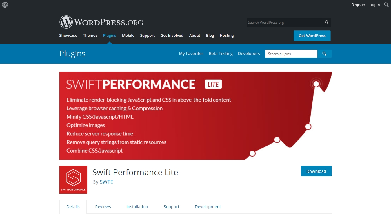 swift performance lite plugin download page from wordpress.org