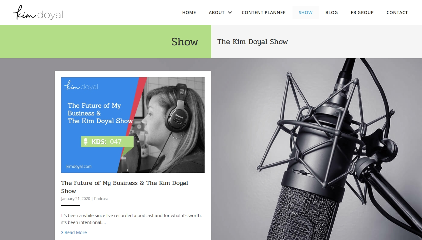 the kim doyal show podcast homepage with the latest episode