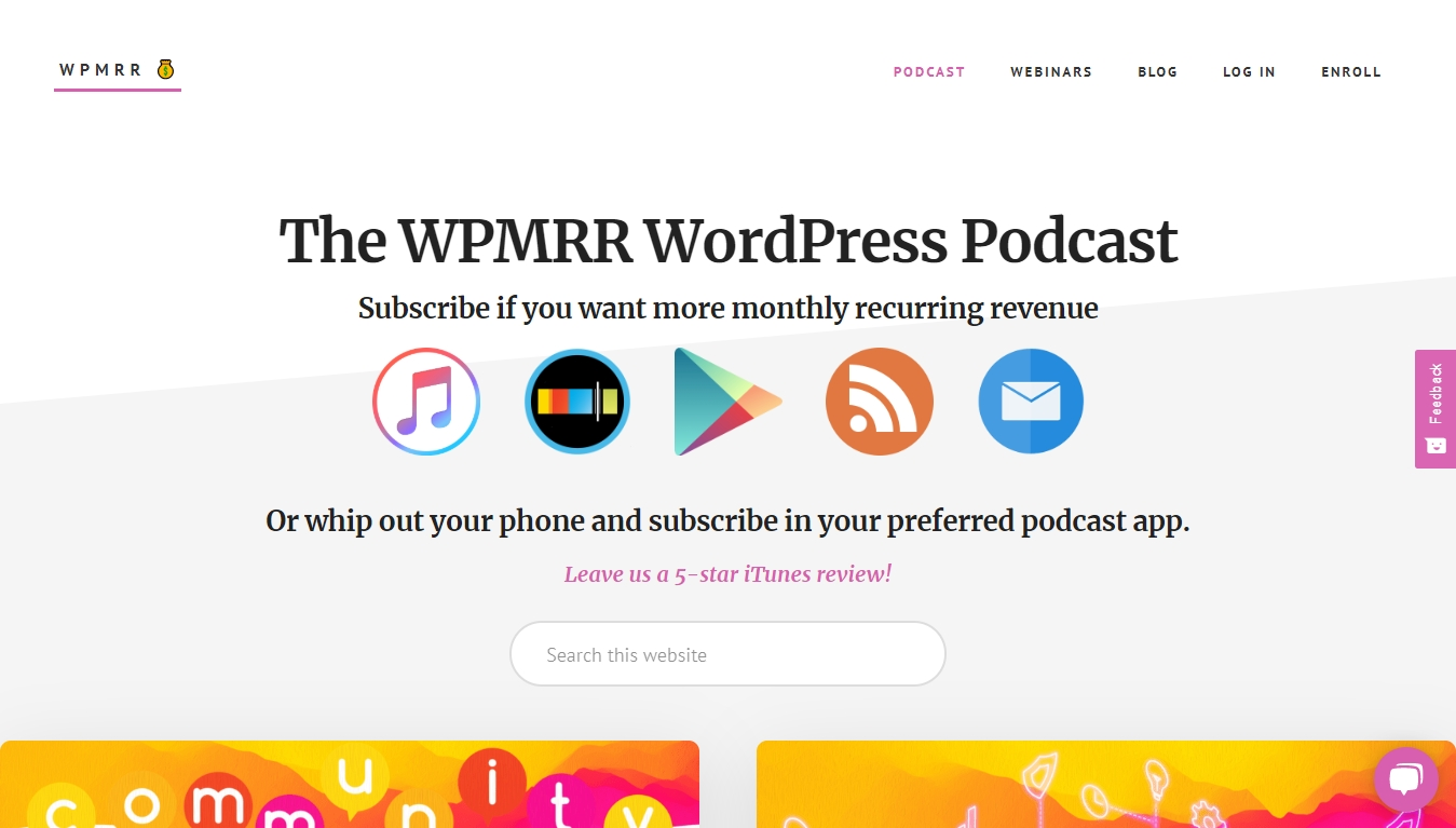 the wpmrr wodpress podcast homepage with subscribe buttons