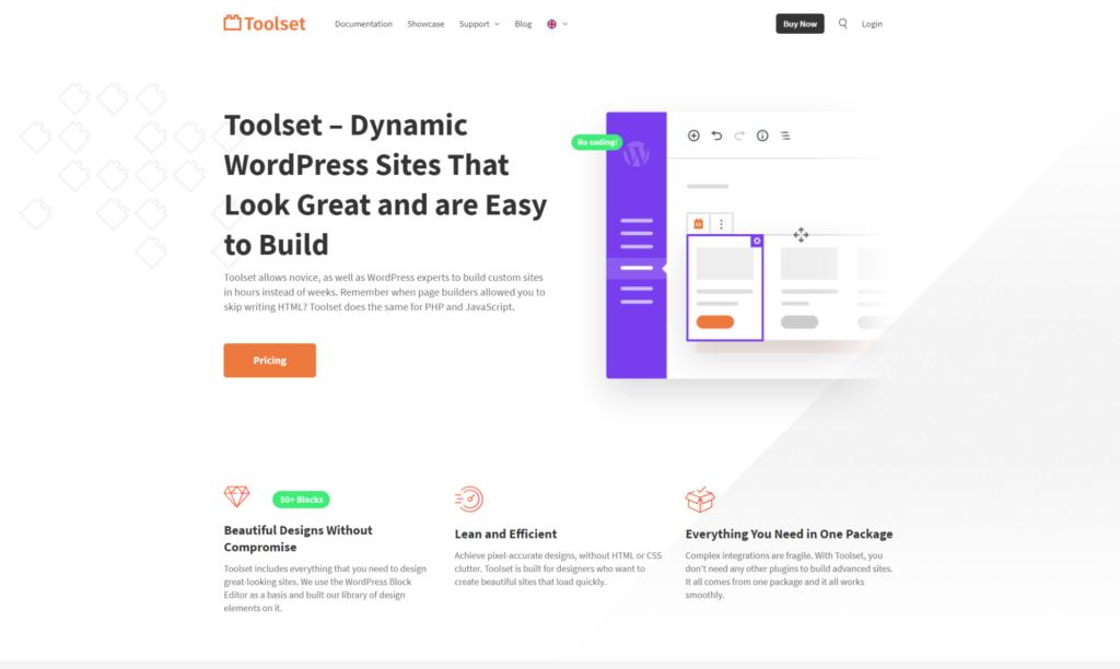 toolset blocks homepage screenshot