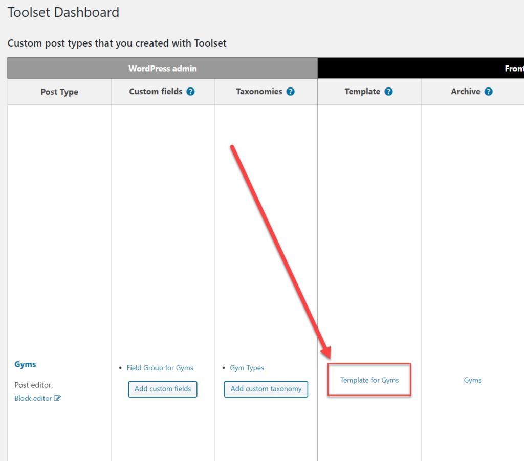 Toolset dashboard screenshot instructions