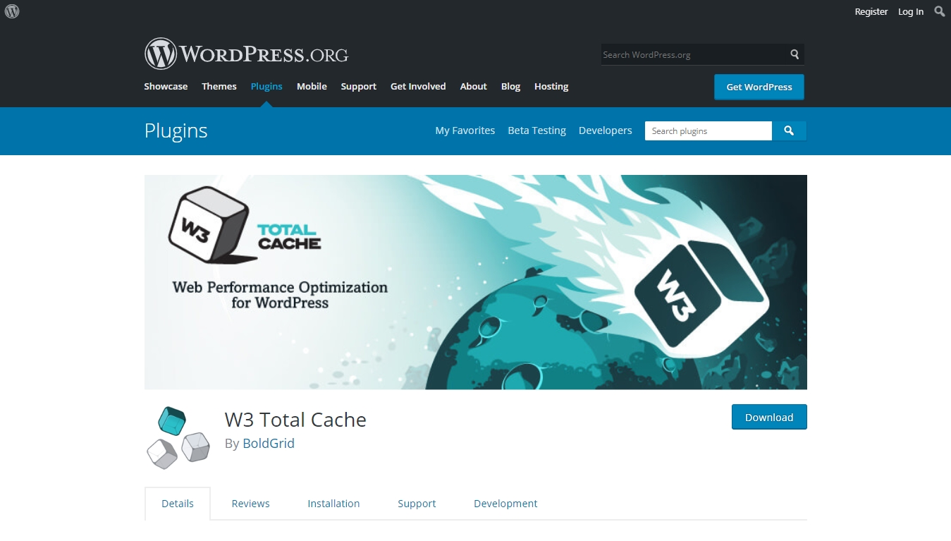 w3 total cache download page from wordpress.org