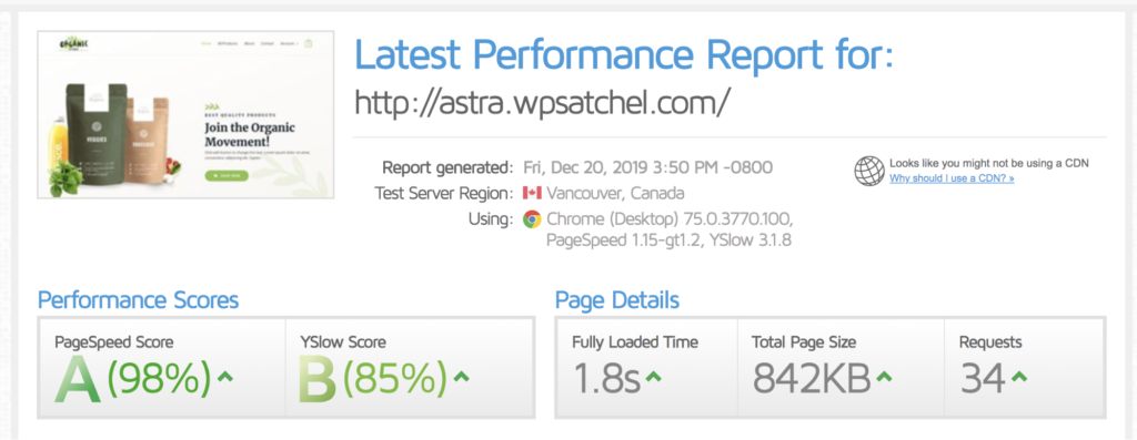 w3 total cache speed test results