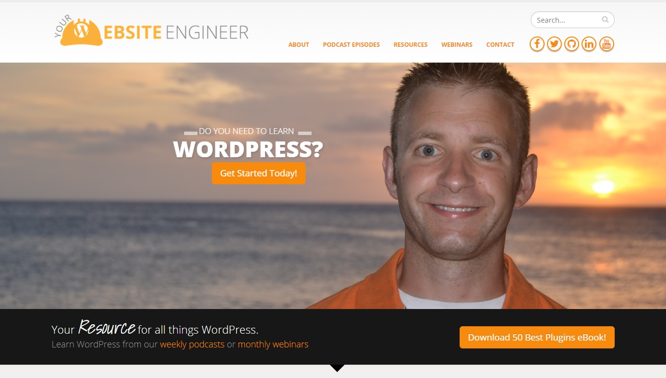 website engineer podcast homepage with get started today button