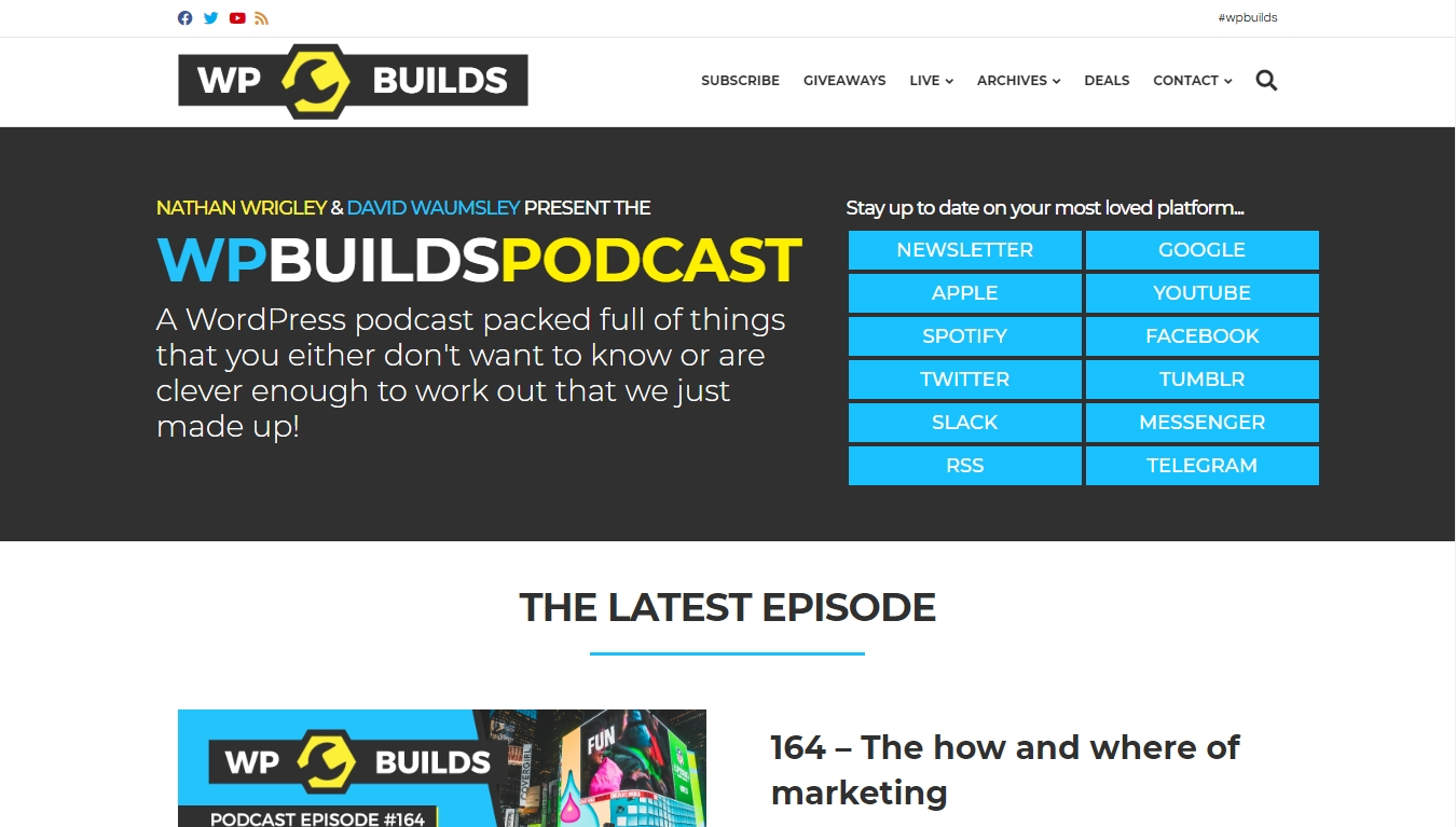 wp builds podcast homepage