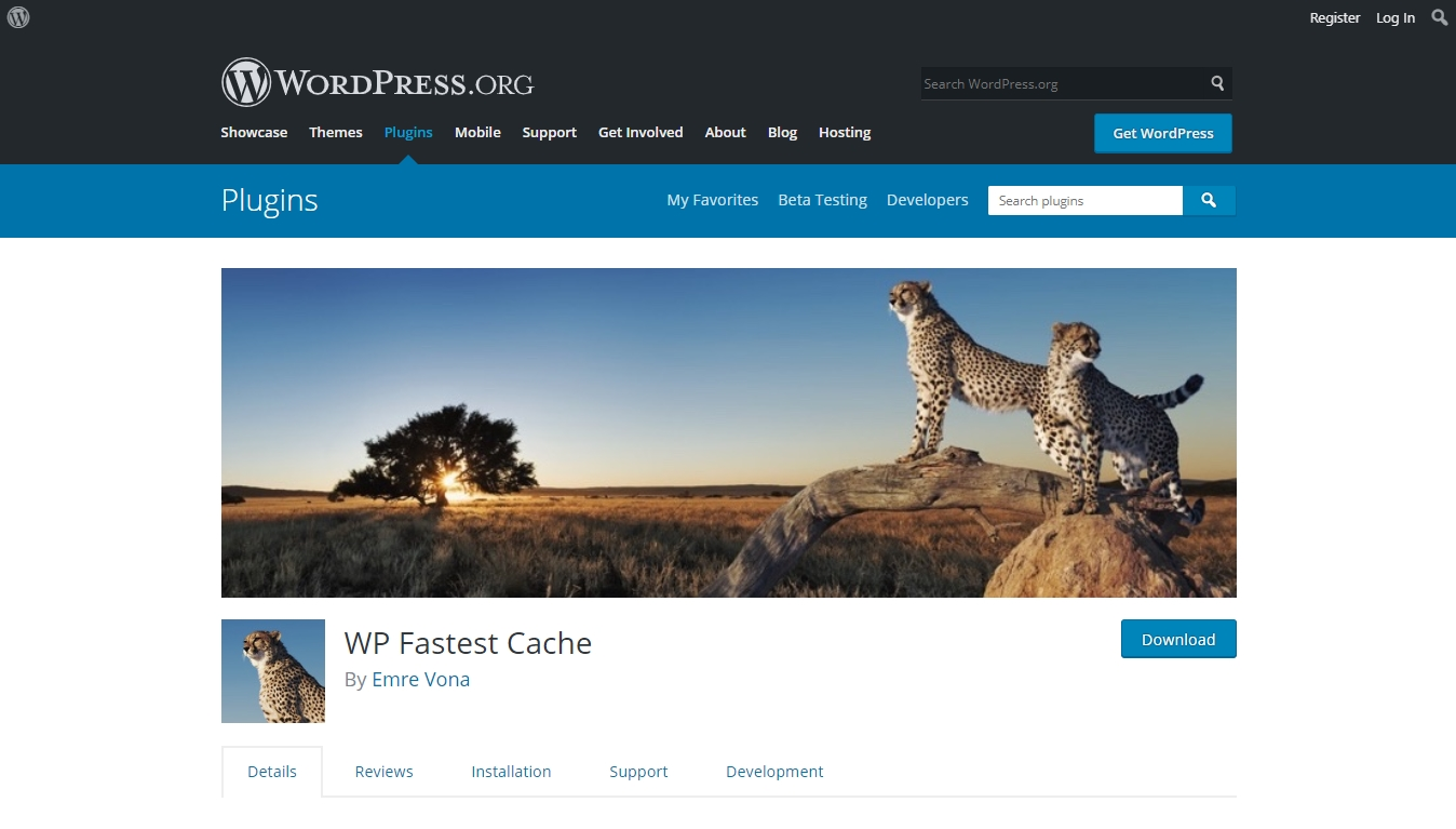 wp fastest cache download page from wordpress.org