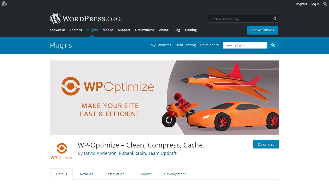 wp optimize downloads page from wordpress.org