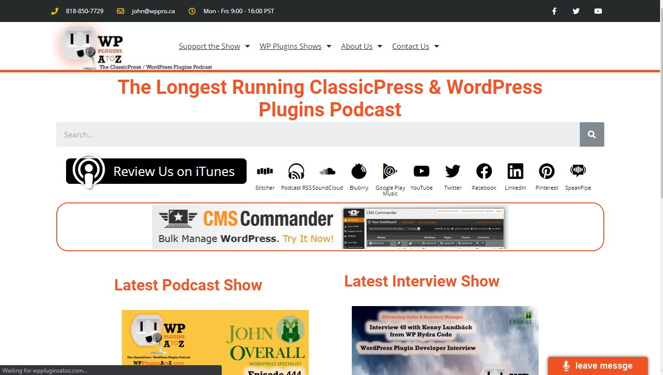 wp plugins a to z podcast homepage The Longest Running ClassicPress & WordPress Plugins Podcast