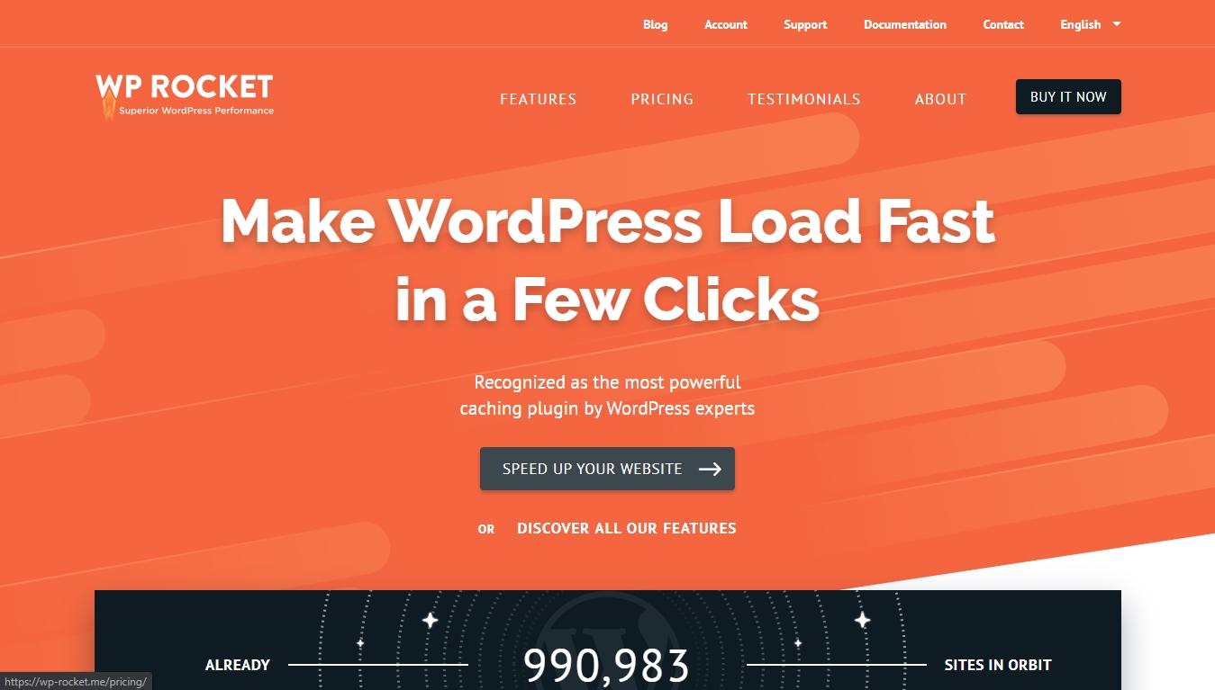 wp rocket homepage for plugin download
