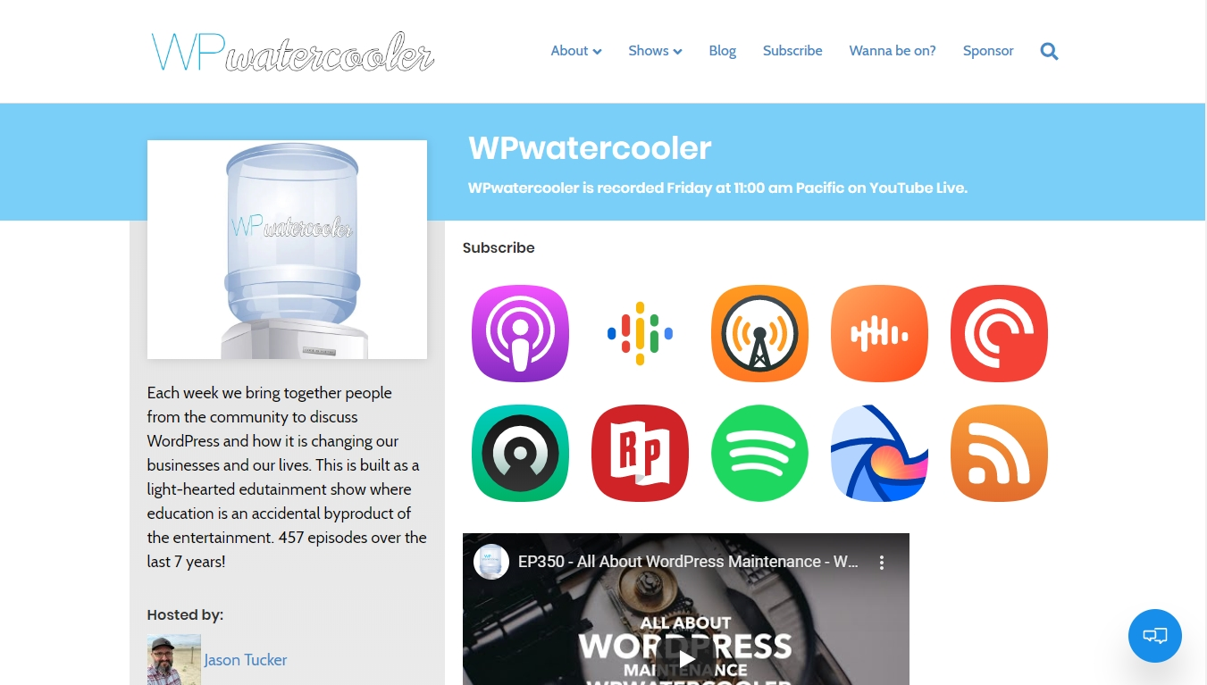 wp watercooler homepage with the latest episode post