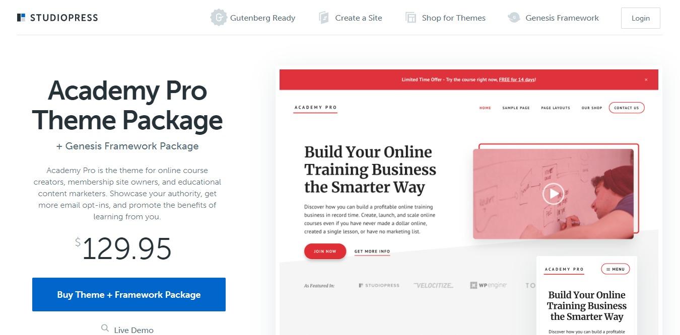 academy pro learndash wordpress theme homepage