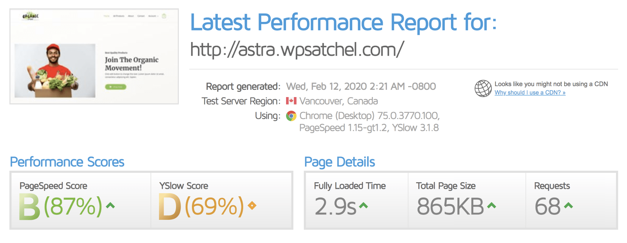 Speedtest results after installing Comet Cache