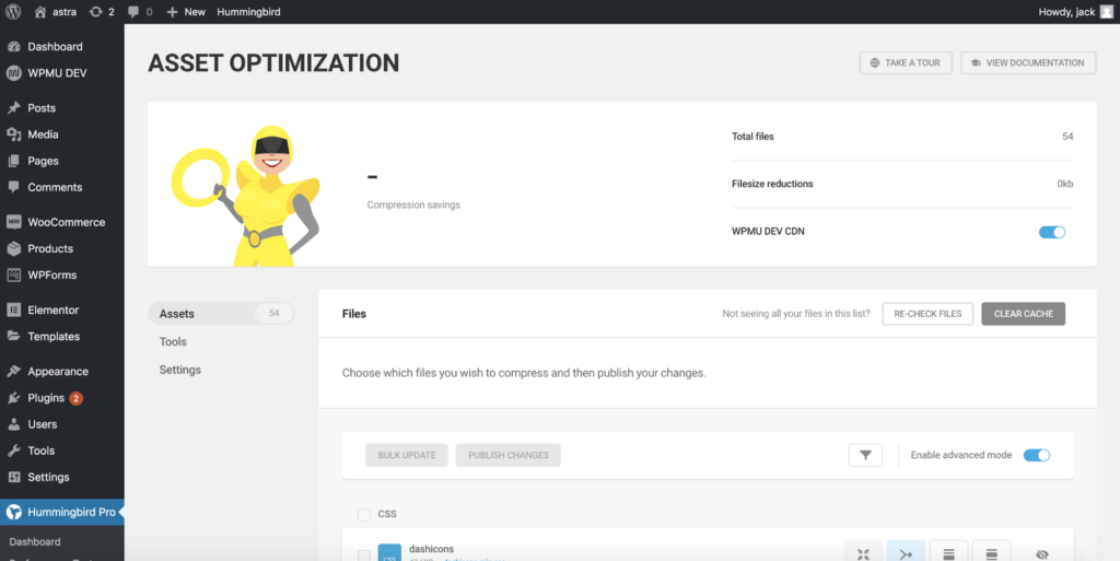 asset optimzations results screen on hummingbird