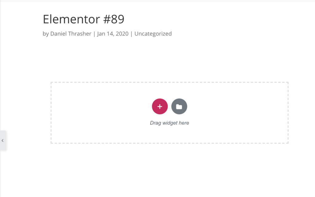 blank elementor page with drag widget here text
