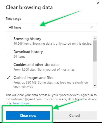 Clear browsing data settings on Microsoft Edge